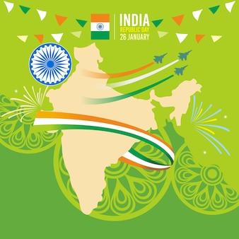 Progettazione di giorno della repubblica dell'india con la mappa