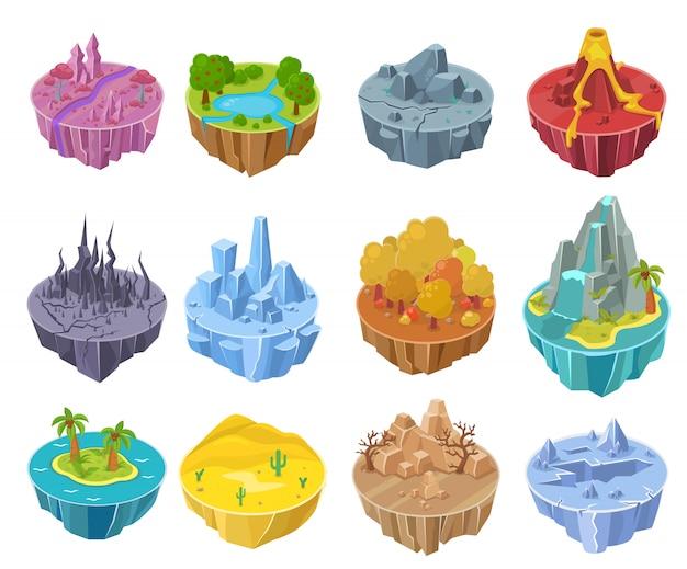 Progettazione di interfaccia del paesaggio del fumetto del gioco dell'isola sul set isometrico dell'illustrazione del computer