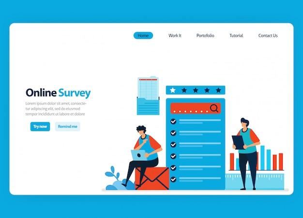 Progettazione di landing page per sondaggi ed esami online, compilando sondaggi con internet e software di validazione. illustrazione piatta