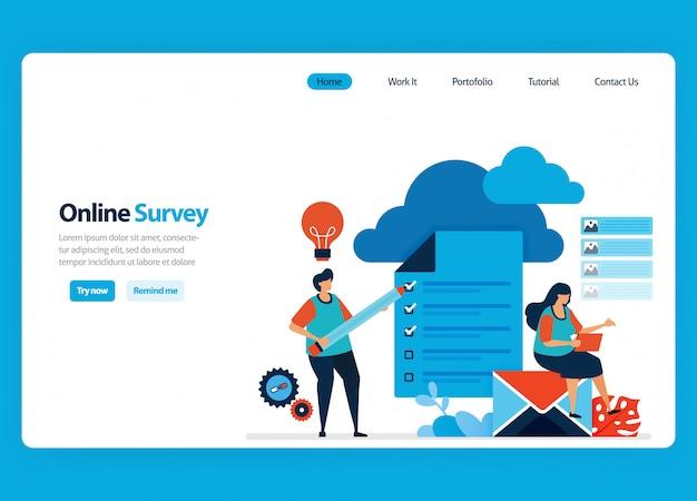 Progettazione di landing page per sondaggi ed esami online, servizi di hosting e server per elaborare i risultati dei sondaggi in big data e database. illustrazione piatta