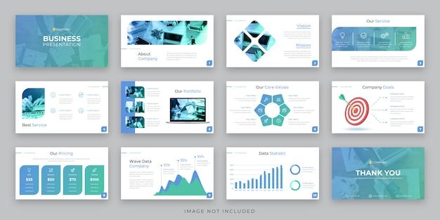 Progettazione di layout di presentazione aziendale con infografica e target