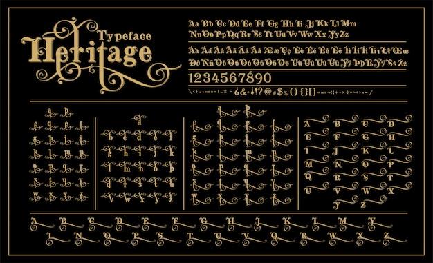 Progettazione di lettere alternative di spirito calligrafico di alfabeto di eredità