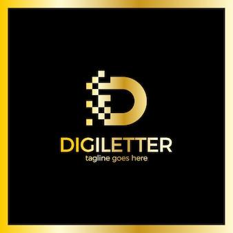 Progettazione di logo aziendale lettera d pixel aziendali