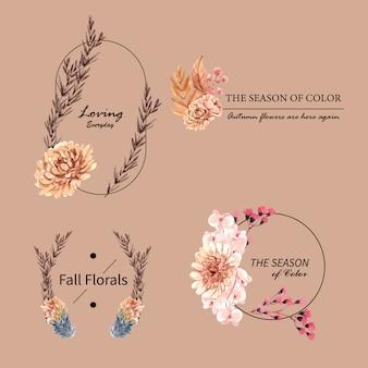 Progettazione di logo con il concetto del fiore di autunno per l'illustrazione dell'acquerello di vendita e di marca.