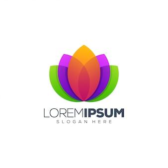 Progettazione di logo dell'illustrazione di vettore di progettazione di logo di lotus