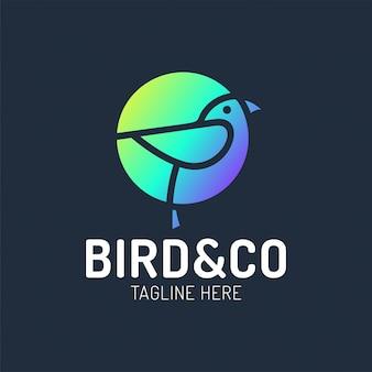 Progettazione di logo dell'uccello con il modello di concetto di forma del cerchio con stile lineare di concetto