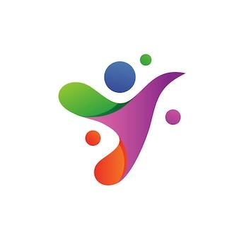 Progettazione di logo della gente della lettera y.