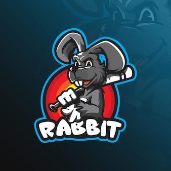 Progettazione di logo della mascotte del coniglio con stile moderno di concetto dell'illustrazione per stampa del distintivo, dell'emblema e della maglietta.