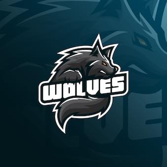 Progettazione di logo della mascotte del lupo con stile moderno di concetto dell'illustrazione per il distintivo, emblema