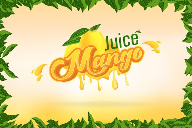 Progettazione di logo della società di marca del succo del mango con l'illustrazione di vettore del fondo