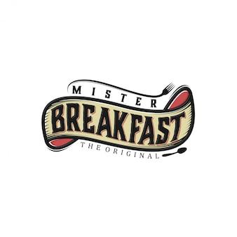 Progettazione di logo di bevande alimentari - etichetta di cibo ristorante in stile vintage e bar ristorante colazione