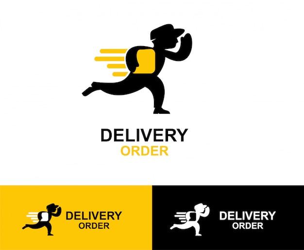 Progettazione di logo di simbolo di consegna uomo