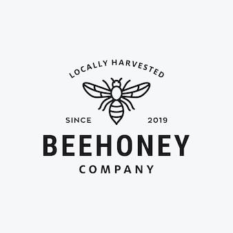 Progettazione di logo di vettore del raccolto del miele dell'ape