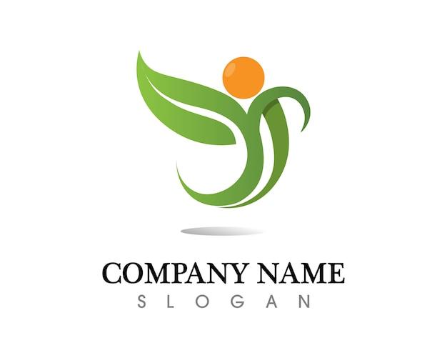 Progettazione di logo di vettore della foglia dell'albero, concetto ecologico.