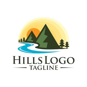 Progettazione di logo di vettore di colline paesaggio