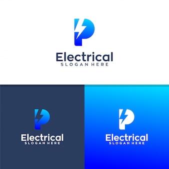 Progettazione di logo elettrico della lettera p