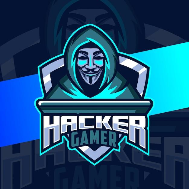 Progettazione di logo mascotte hacker anonimo
