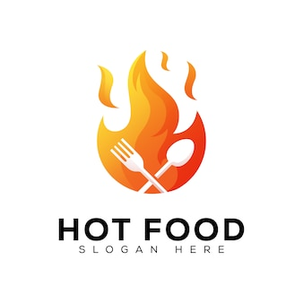 Progettazione di logo ristorante fuoco caldo cibo