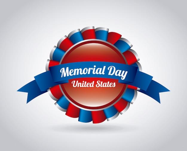 Progettazione di memorial day sopra l'illustrazione grigia di vettore del fondo