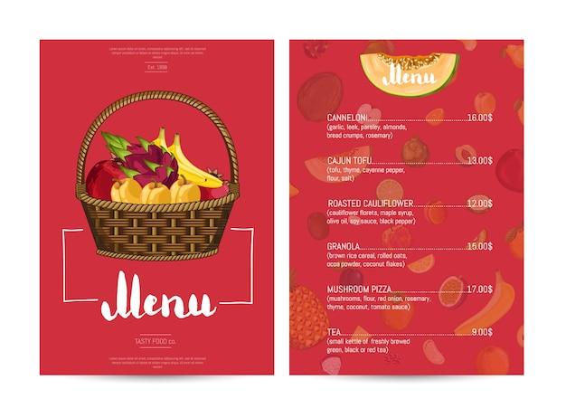 Progettazione di menu cibo ristorante vegetariano