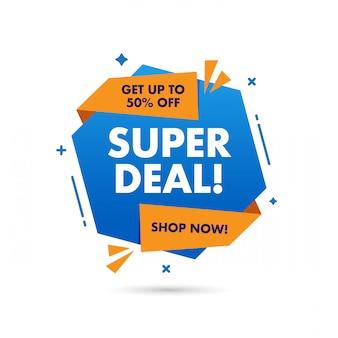 Progettazione di modelli di banner di vendita super affare, grande offerta speciale di vendita. banner di offerta speciale di fine stagione. elemento grafico di promozione astratta.