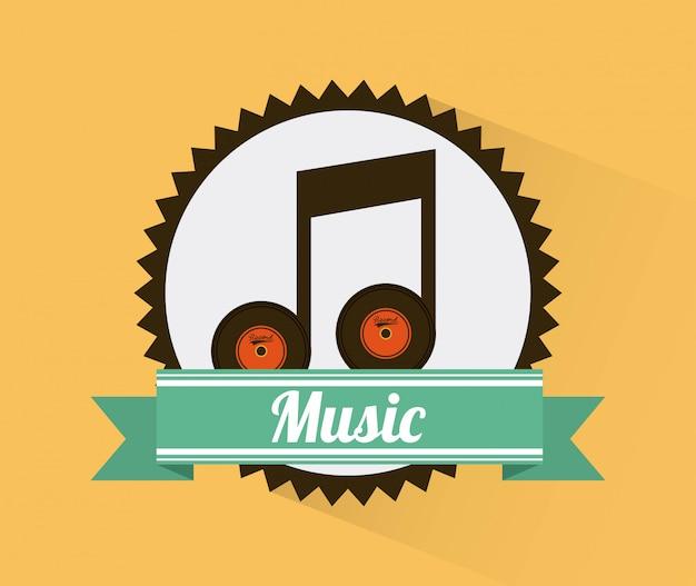 Progettazione di musica sopra l'illustrazione gialla di vettore del fondo