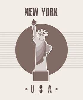Progettazione di new york sopra l'illustrazione beige di vettore del fondo