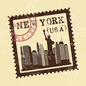 Progettazione di new york sopra l'illustrazione crema di vettore del fondo