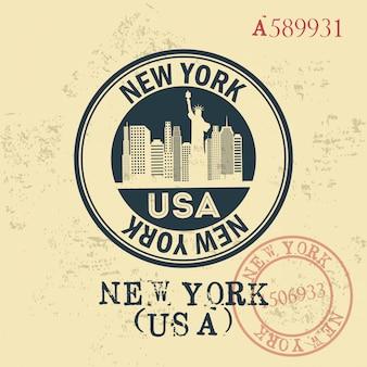 Progettazione di new york sopra l'illustrazione d'annata di vettore del fondo