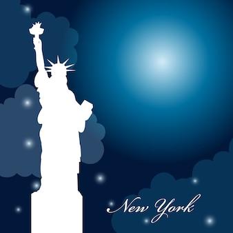 Progettazione di new york su sfondo del cielo, illustrazione vettoriale