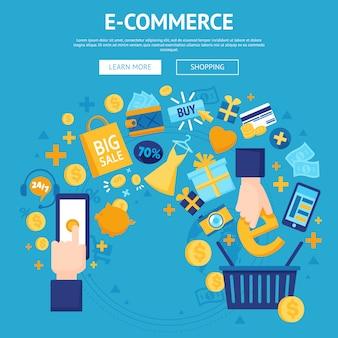 Progettazione di pagine web del negozio online di e-commerce