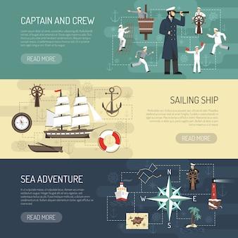 Progettazione di pagine web di banner orizzontale a vela