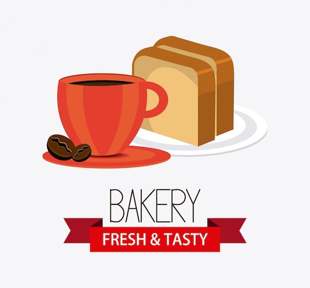 Progettazione di panetteria, dessert e latte.