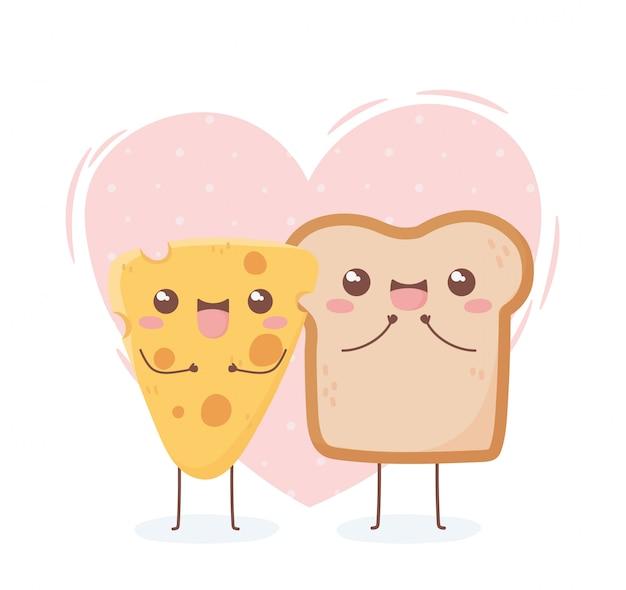 Progettazione di personaggio dei cartoni animati dell'alimento di kawaii del formaggio e del pane