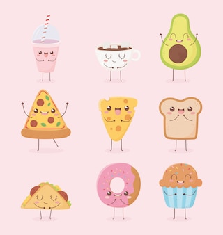 Progettazione di personaggio dei cartoni animati dell'alimento di kawaii della ciambella del pane della pizza del formaggio della tazza del frullato