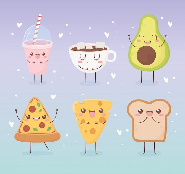 Progettazione di personaggio dei cartoni animati dell'alimento di kawaii della tazza di cioccolato del pane del formaggio della pizza dell'avocado