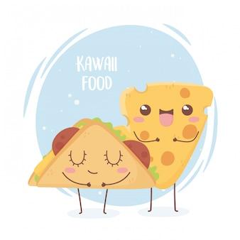 Progettazione di personaggio dei cartoni animati di kawaii di fast food di formaggio e taco