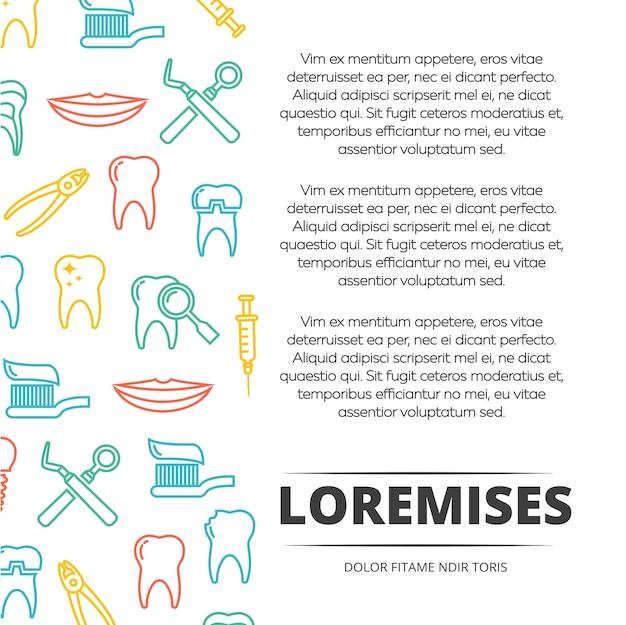 Progettazione di poster dentale con icone colorate