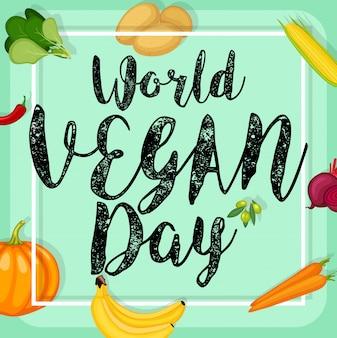 Progettazione di poster di giornata mondiale vegano
