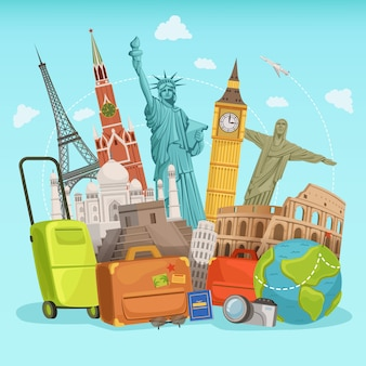Progettazione di poster di viaggio con diversi punti di riferimento del mondo. illustrazioni vettoriali