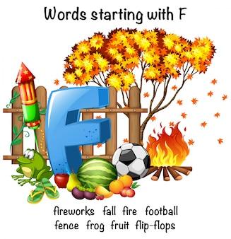 Progettazione di poster educativi per parole che iniziano con f