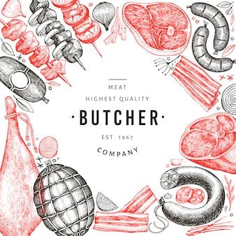 Progettazione di prodotti a base di carne vettoriale retrò. prosciutto, salsicce, spezie ed erbe disegnati a mano.