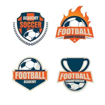 Progettazione di raccolta del modello di logo distintivo di calcio.