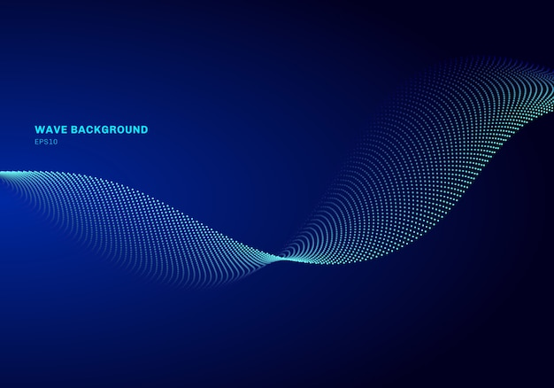 Progettazione di rete astratta con onda blu chiaro di particelle