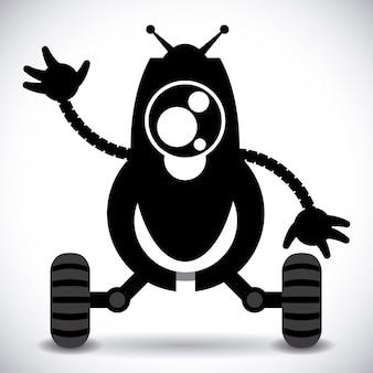 Progettazione di robot su sfondo grigio illustrazione vettoriale