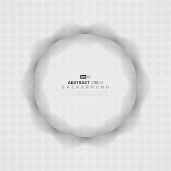 Progettazione di semitono del cerchio di progettazione del modello ondulato grigio astratto.