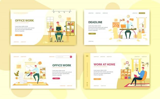 Progettazione di set di pagine di destinazione per lavoro freelance e ufficio