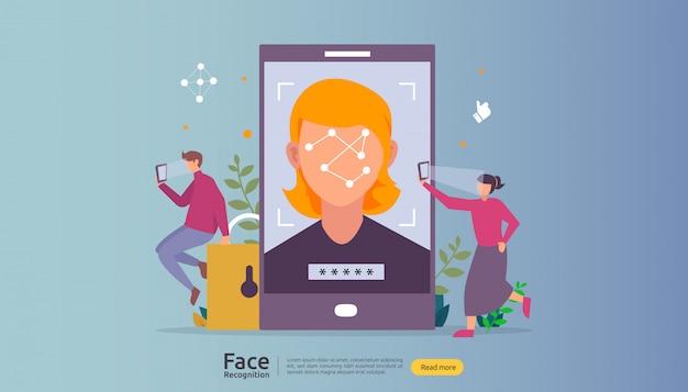 Progettazione di sicurezza dei dati di riconoscimento facciale. scansione del sistema di identificazione biometrica facciale su smartphone.