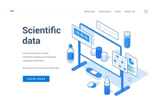 Progettazione di siti web blu e bianco su dati scientifici