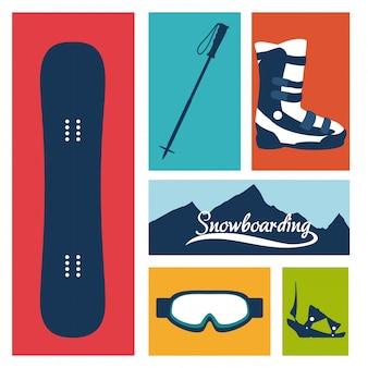 Progettazione di snowboard, illustrazione vettoriale.